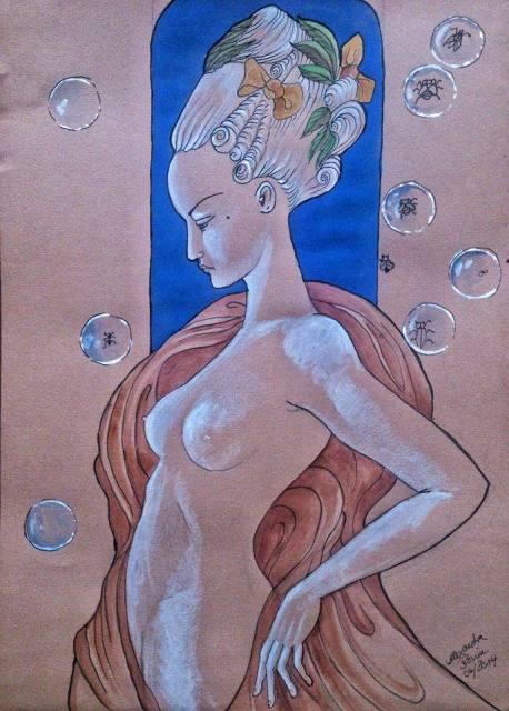 la fenetre, Gouache und Tusche auf Papier, 2014