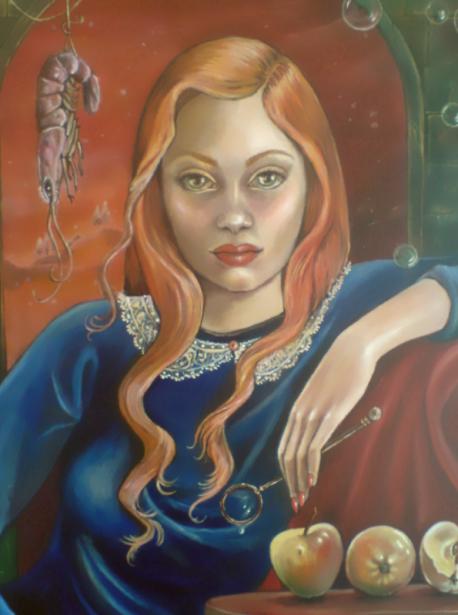 Maedchen in Ultramarinblau, Oel auf Spanplatte, 60x70, 201