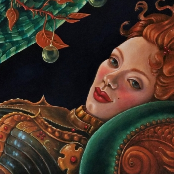 Cherubina mit Glaskirschen, Öl auf MDF, 30x80 cm, 2017
